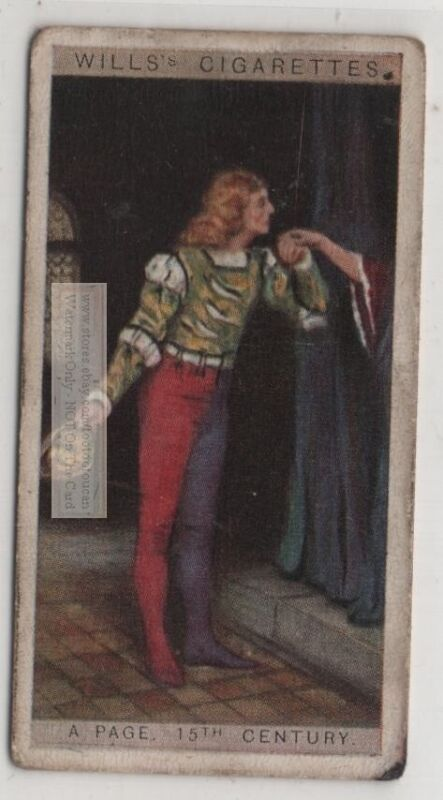 15th Century Henry VII English Court Page Clothing 1920s  Ad Trade Card
