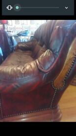 Sofa and chair in Burgundy red