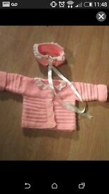 Handmade knitted cardigan 0-6 months