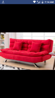 Secondhand Click Clack Sofa Bed, excellent condition, vibrant red