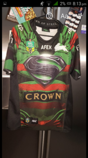 """Rabbitohs 2014 jersey """"man of steel jersey signed by the team"""