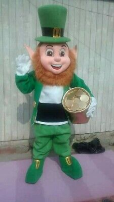 Leprechaun Irish Mascot Costume Party Character St Patrick Lucky Charm Halloween - Leprechaun Mascot Costume
