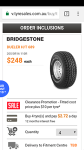New 4x 205 r16 110r bridgestone Brisbane City Brisbane North West Preview