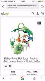 mobile cot fisher price rainforest