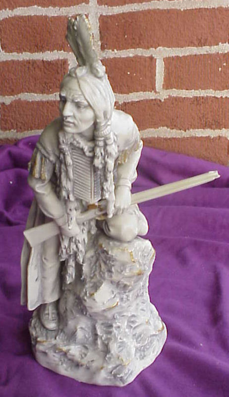 ANTIQUE ROYAL DUX POTTERY PORCELAIN FIGURINE INDIAN MAN