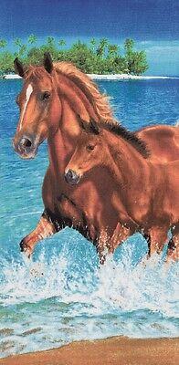 "Horses In Water Beach Towel - 30"" x 60"" - Velour - Made In B"