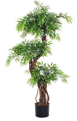 XXL Kunstpflanze Kunstbaum Ruscus Künstlicher Baum im Topf 120cm Hoch Natur Neu