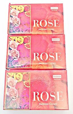 Darshan Incense Cones Rose  x 3 Boxes (30 cones) Premium Meditation Dhoop