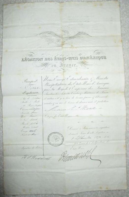 1873 U.S. Passport signed by Frmr Secretary of State Elihu B. Washburn (d.1887)
