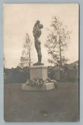 Nude Father Statue OSTERSUND Sweden RPPC Antique Photo Foto Jamtland 1910
