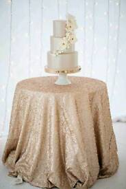 132inch diameter champagne sequin tablecloth