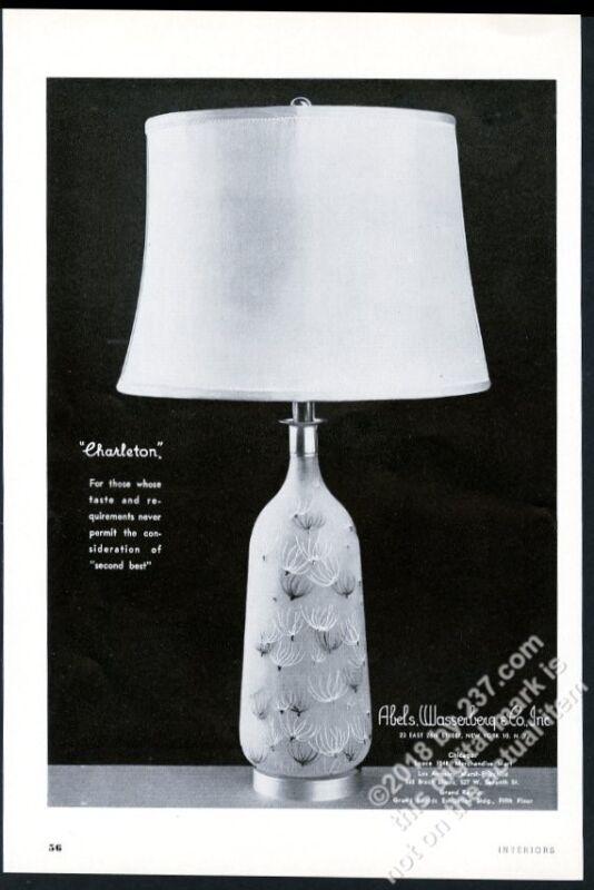 1953 Abels Wasserberg Charleton glass lamp photo vintage print ad 2