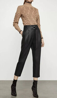 BCBGmaxazria Faux Leather Belted Pleated Jogger Pants Black L NWT -