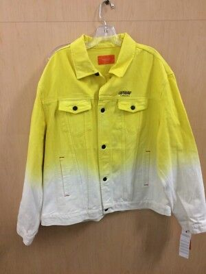 iceberg history denim jacket 3xl yellow and white made in italy