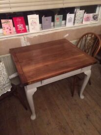 Solid Wood Extendable Table With Draw. Seats 6. 8 at a push.