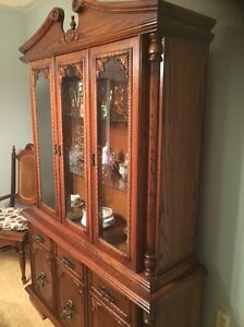 Antique solid wood buffet & hutch with 6 chairs
