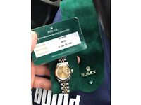 Ladies Rolex Datejust 18k 69163 with Service Papers