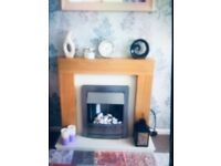Electric fire suite light oak surround with silver fire for sale  Stoke-on-Trent, Staffordshire