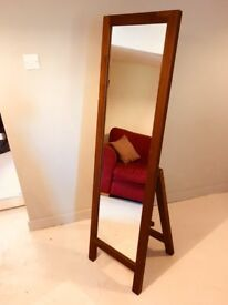 Wooden full-length free standing mirror. Great condition.