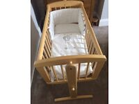 Mothercare crib; inc crib set coverlet, sheets, bumper and mattress