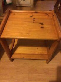 Refurbished solid pine side/lamp/bedside table