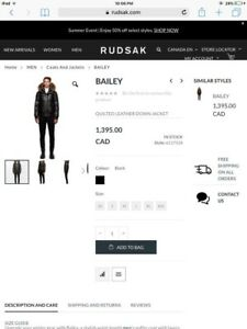 Rudsak brand new BAILEY quilted down leather jacket