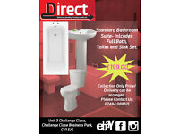 Cheap Bath Suite. Everything you need. Bath, Panel, Waste, Sink, Toilet, Taps, Soft-Close Seat.