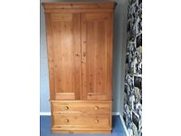 Solid Pine 2 door wardrobe with 2 large bottom drawers