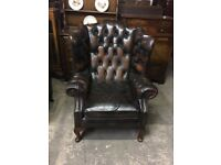 Chesterfield brown wing chair (delivery available)