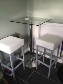 Tall Glass table with 2 stalls