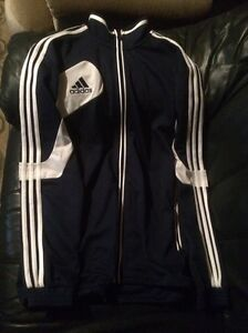 $20 blue and white adidas zip up