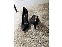 Black real leather stiletto