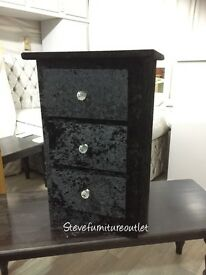 2017 black velvet 3 draw bedside with crystal handles and solid wood structure