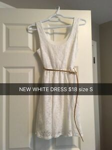 (NEW) size S white mini dress