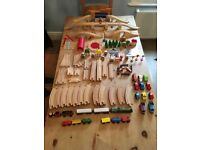 68 Pieces Of Wooden Train Track Including 4 bridges, turntable and level crossing
