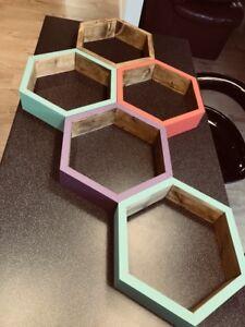 Floating Hexagon Honeycomb Shelf 69cm Deep HandMade Hand Finished, Painted ,Bare