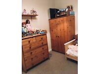 Nursery wardrobe and chest of drawers with changing table