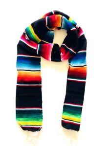 Mexican Black Sarape Baja Scarf, Graduation Stole, Winter Warm Sash, Men Women