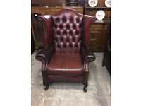 Chesterfield Leather wing chair (delivery available )