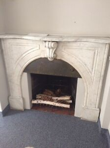1900's pure marble fireplace with original grate