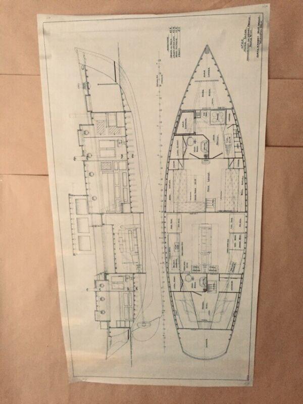 "Naval Architecture ""Motor Sailer, 1933"" C.D. Mabry, California Vellum Ink 43x24"