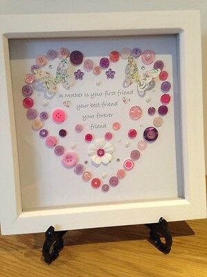 Mother- Best Friend -hancrafted Button Art Heart. Perfect Mothers Day Present