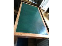 Beautiful vintage oak and green leather desk