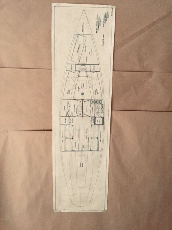 "Maritime Architecture ""Balboa Cutter Class, C.D. Manet, '32"" Vellum Ink 37x10"