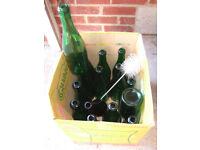 15 used empty sparkling wine bottles