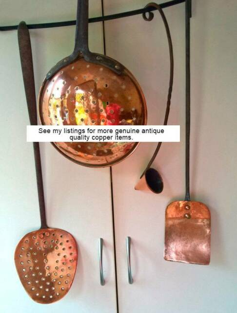 Collection Antique English Solid Copper Utensils Kitchen Iron