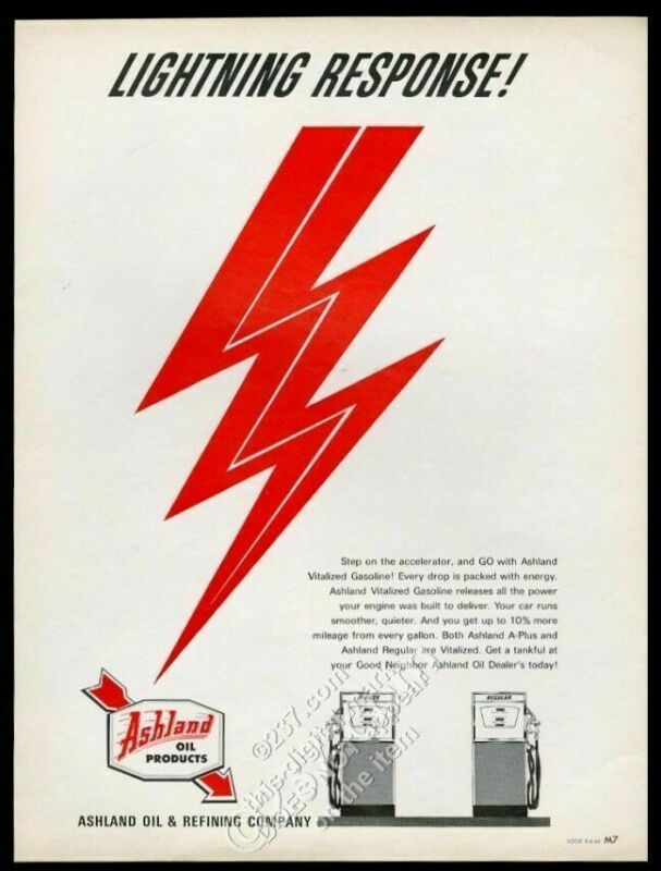 1966 Ashland oil A Plus & regular gas pump pic vintage print ad