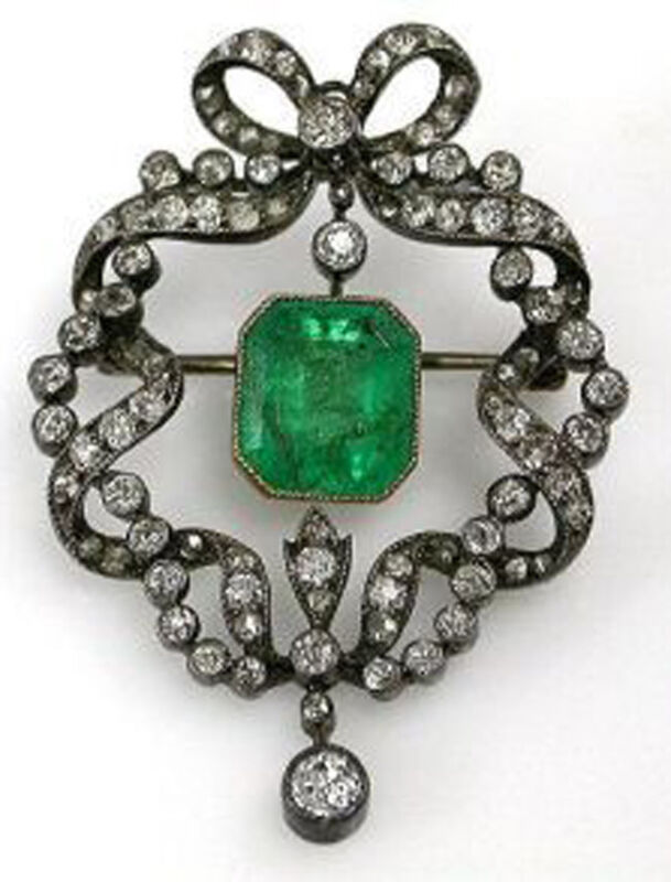 3.25ct ROSE CUT DIAMOND EMERALD ANTIQUE VICTORIAN LOOK SILVER BROOCH PIN
