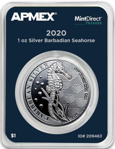 2020 Barbados Caribbean Silver Seahorse (MintDirect®Premier Single)=FIRST STRIKE