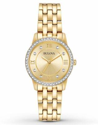 Bulova Women's Quartz Swarvoski Crystal Accents Gold Tone 27mm Watch 97X104